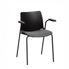 Neptune Visitor Chair, With Arms - Black Moulded Seat with Grey Inter/VeneTM Upholstered Seat Pad