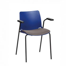 Neptune Visitor Chair, With Arms - Blue Moulded Seat with Grey Inter/VeneTM Upholstered Seat Pad