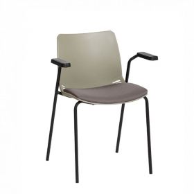 Neptune Visitor Chair, With Arms - Grey Moulded Seat with Grey Inter/VeneTM Upholstered Seat Pad