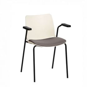 Neptune Visitor Chair, With Arms - Ivory Moulded Seat with Grey Inter/VeneTM Upholstered Seat Pad