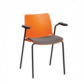 Neptune Visitor Chair, With Arms - Orange Moulded Seat with GreyInter/VeneTM Upholstered Seat Pad