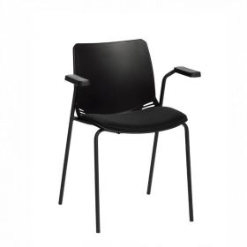 Neptune Visitor Chair, With Arms - Black Moulded Seat with Black Inter/VeneTM Upholstered Seat Pad