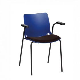 Neptune Visitor Chair, With Arms - Blue Moulded Seat with Black Inter/VeneTM Upholstered Seat Pad
