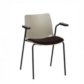 Neptune Visitor Chair, With Arms - Grey Moulded Seat with Black Inter/VeneTM Upholstered Seat Pad