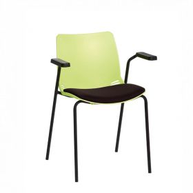 Neptune Visitor Chair, With Arms - Green Moulded Seat with Black Inter/VeneTM Upholstered Seat Pad