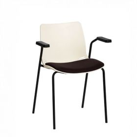 Neptune Visitor Chair, With Arms - Ivory Moulded Seat with Black Inter/VeneTM Upholstered Seat Pad