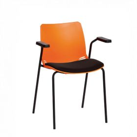 Neptune Visitor Chair, With Arms - Orange Moulded Seat with Black Inter/VeneTM Upholstered Seat Pad