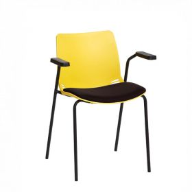 Neptune Visitor Chair, With Arms - Yellow Moulded Seat with Black Inter/VeneTM Upholstered Seat Pad