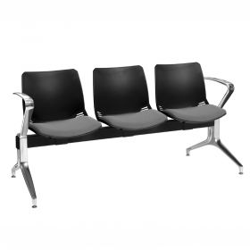 Neptune Visitor 3 Seat Module - 3 Black Moulded Seats ?with Grey ?Inter/VeneTM Upholstered Seat Pads