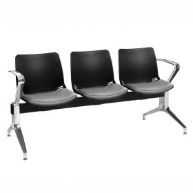 Neptune Visitor 3 Seat Module - 3 Black Moulded Seats ?with Grey Vinyl Upholstered Seat Pads