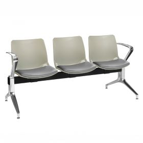 Neptune Visitor 3 Seat Module - 3 Grey Moulded Seats ?with Grey Vinyl Upholstered Seat Pads