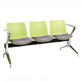 Neptune Visitor 3 Seat Module - 3 Green Moulded Seats ?with Grey Vinyl Upholstered Seat Pads