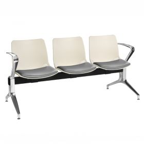 Neptune Visitor 3 Seat Module - 3 Ivory Moulded Seats ?with Grey Vinyl Upholstered Seat Pads
