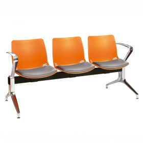 Neptune Visitor 3 Seat Module - 3 Orange Moulded Seats ?with Grey Vinyl Upholstered Seat Pads