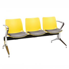 Neptune Visitor 3 Seat Module - 3 Yellow Moulded Seats ?with Grey Vinyl Upholstered Seat Pads