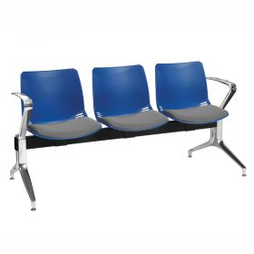 Neptune Visitor 3 Seat Module - 3 Blue Moulded Seats ?with Grey ?Inter/VeneTM Upholstered Seat Pads