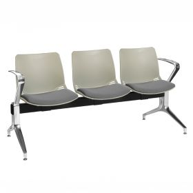 Neptune Visitor 3 Seat Module - 3 Grey Moulded Seats ?with Grey ?Inter/VeneTM Upholstered Seat Pads