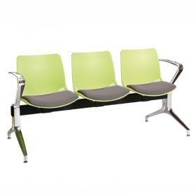 Neptune Visitor 3 Seat Module - 3 Green Moulded Seats ?with Grey ?Inter/VeneTM Upholstered Seat Pads