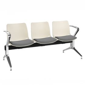 Neptune Visitor 3 Seat Module - 3 Ivory Moulded Seats ?with Grey ?Inter/VeneTM Upholstered Seat Pads