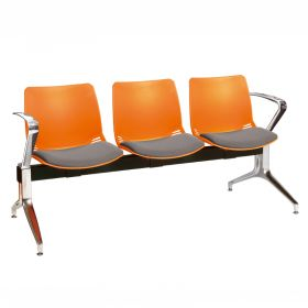 Neptune Visitor 3 Seat Module - 3 Orange Moulded Seats ?with Grey ?Inter/VeneTM Upholstered Seat Pads