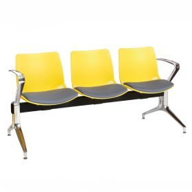 Neptune Visitor 3 Seat Module - 3 Yellow Moulded Seats ?with Grey ?Inter/VeneTM Upholstered Seat Pads