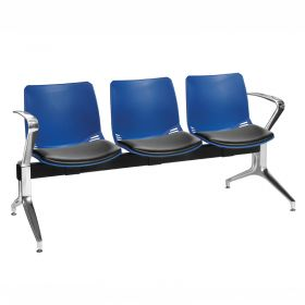 Neptune Visitor 3 Seat Module - 3 Blue Moulded Seats ?with Black Vinyl Upholstered Seat Pads