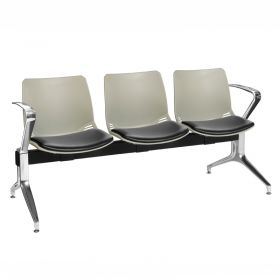 Neptune Visitor 3 Seat Module - 3 Grey Moulded Seats ?with Black Vinyl Upholstered Seat Pads