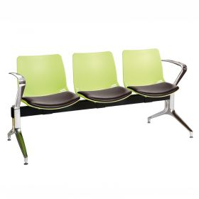 Neptune Visitor 3 Seat Module - 3 Green Moulded Seats ?with Black Vinyl Upholstered Seat Pads