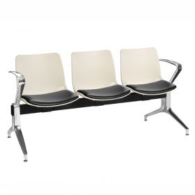 Neptune Visitor 3 Seat Module - 3 Ivory Moulded Seats ?with Black Vinyl Upholstered Seat Pads
