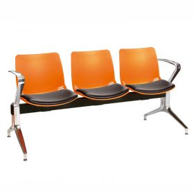 Neptune Visitor 3 Seat Module - 3 Orange Moulded Seats ?with Black Vinyl Upholstered Seat Pads