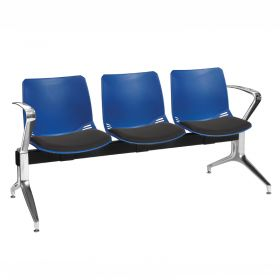 Neptune Visitor 3 Seat Module - 3 Blue Moulded Seats ?with Black ?Inter/VeneTM Upholstered Seat Pads