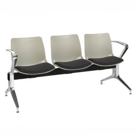 Neptune Visitor 3 Seat Module - 3 Grey Moulded Seats ?with Black ?Inter/VeneTM Upholstered Seat Pads