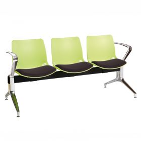 Neptune Visitor 3 Seat Module - 3 Green Moulded Seats ?with Black ?Inter/VeneTM Upholstered Seat Pads