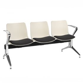 Neptune Visitor 3 Seat Module - 3 Ivory Moulded Seats ?with Black ?Inter/VeneTM Upholstered Seat Pads
