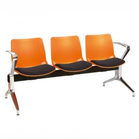 Neptune Visitor 3 Seat Module - 3 Orange Moulded Seats ?with Black ?Inter/VeneTM Upholstered Seat Pads