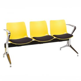 Neptune Visitor 3 Seat Module - 3 Yellow Moulded Seats ?with Black ?Inter/VeneTM Upholstered Seat Pads