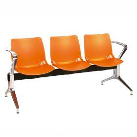 Neptune Visitor 3 Seat Module - 3 Orange Moulded Seats