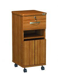 Axis Bedside Locker, Walnut, Keyed Alike - Locking fold down shelf, middle open access, saloon bottom doors