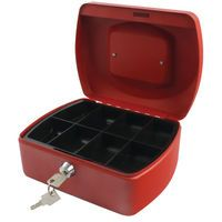 Q-CONNECT CASH BOX 8 INCH RED
