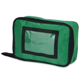 Travel Pouch Medium - Green Empty With Transparent Window 22cm X 14cm X 6cm [Each]