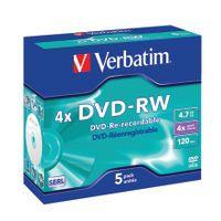 VERBATIM DVD-RW 4X 4.7GB PACK OF 5