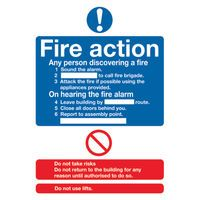 FIRE ACTION STANDARD PVC SIGN A5