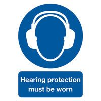 SIGNSLAB A4 HEAR PROT M/B/WORN PVC