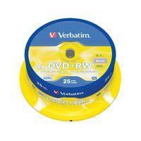 VERBATIM DVD+RW 4X SLVR  SPNDLE 25