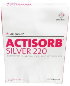 Actisorb Silver Activated Charcoal Dressing 9.5cm x 6.5cm [Pack of 10]