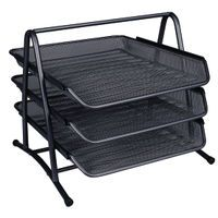 QCONNECT 3 TIER LETTER TRAY BLACK