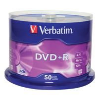 VERBATIM DVD+R 4.7GB SPINDL OF 50