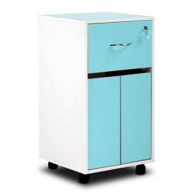 Bristol Maid Bedside Cabinet - Grey White - Lockable Upper Drawer - Cupboard - Adjustable Shelf