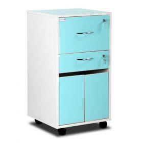Bristol Mai Bedside Cabinet - Grey White - Lockable Upper And Personal Drawers - Cupboard - Adjustable Shelf - Upper Drawer