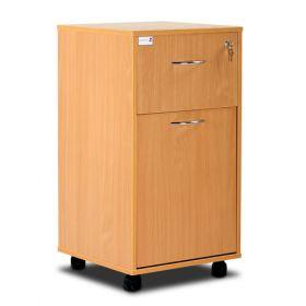 Bristol Maid Bedside Cabinet - Beech - Lockable Upper Drawer - Large Lower Drawer - Adjustable Shelf